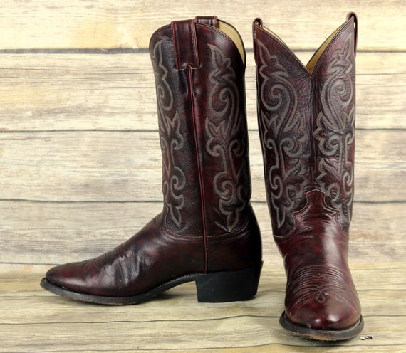 Boots Cowboy Burgundy Size D Western Wine 9 Oxblood Vintage Mens Leather Justin fH5wqxqEd