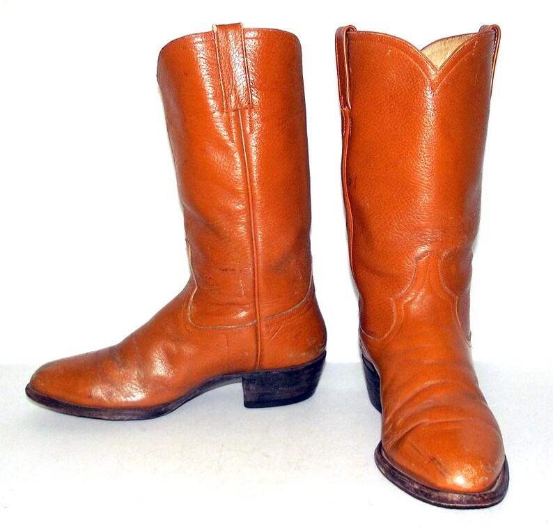 d0003cdf6039 Mens 8 D Cowboy Boots Vintage Tan Western Rockabilly Country