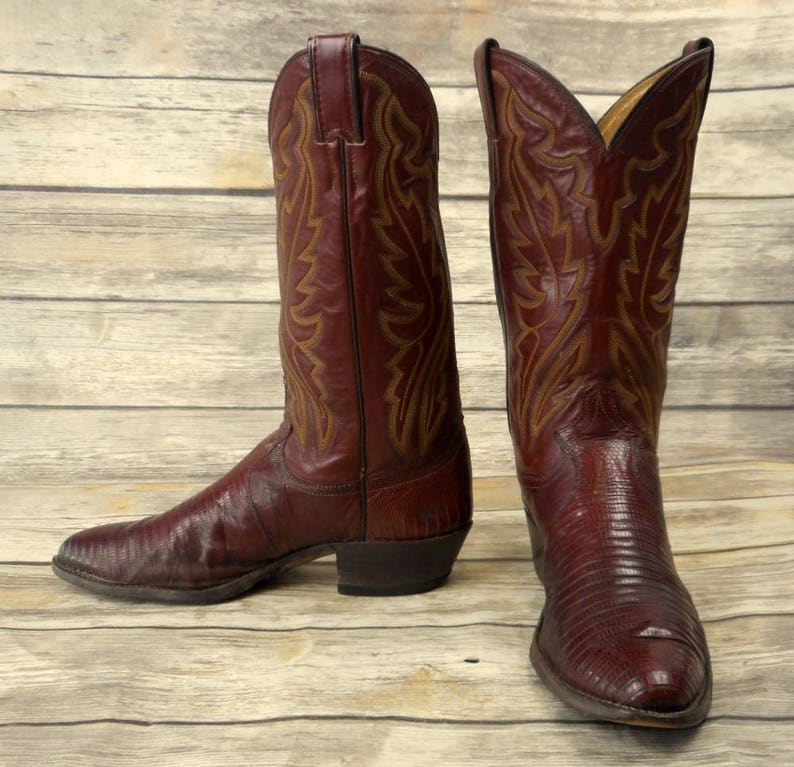 f0458c275655 Justin Cowboy Boots Brown Lizard Leather Mens Size 9.5 D