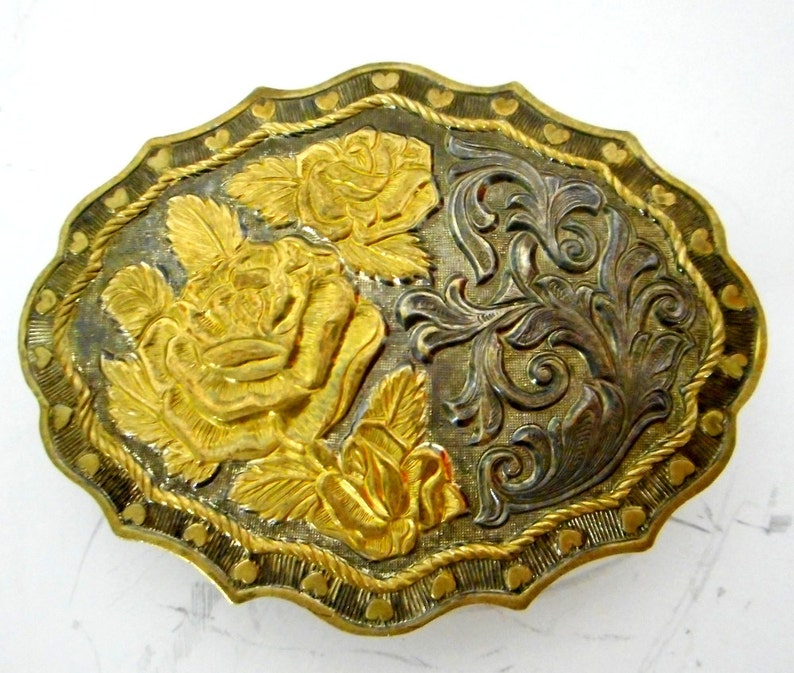 Rose Hearts Floral Belt Buckle Crumrine Western Country Indie Cowgirl  Silver Gold