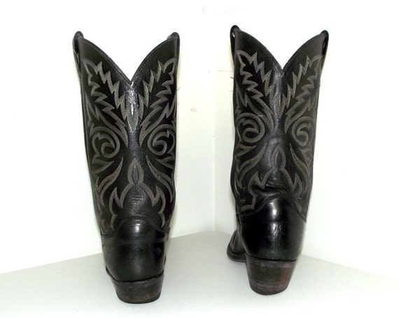 Black brand in boots size 11 D broken Justin leather cowboy Vintage w65qE7n