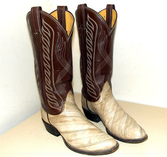 2116f6c8069 Vintage Brown and off white eel leather Tony Lama brand cowboy boots size  5.5 B