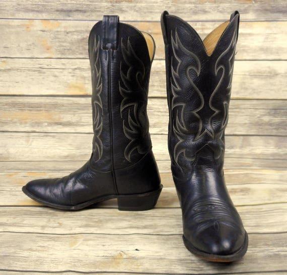 Nocona Cowboy en 8 D cuir bottes 5 noir Mens afflig de 6fqO7z