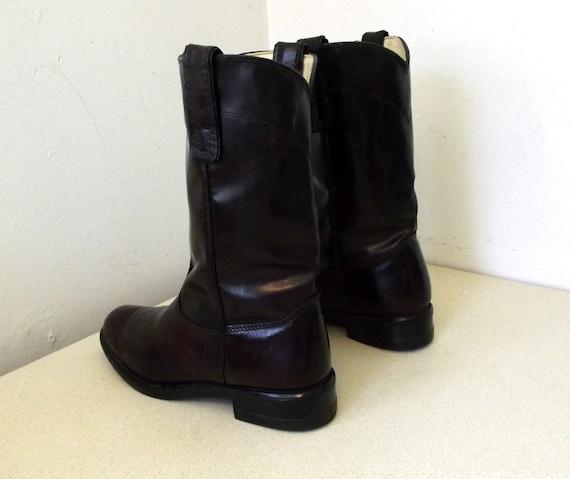 marron Vintage cow en marque girl cuir taille fonc de 5 Bottes Texas wfgRRv