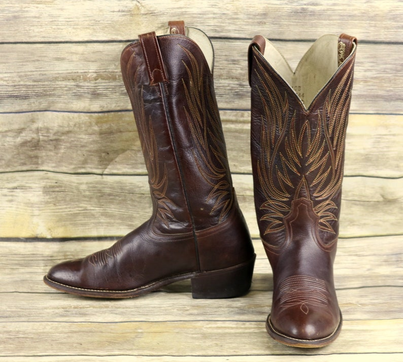 1cdcbebcd40 Acme Cowboy Boots Brown Leather Mens Size 10 B Narrow Western Classic  Rockabilly