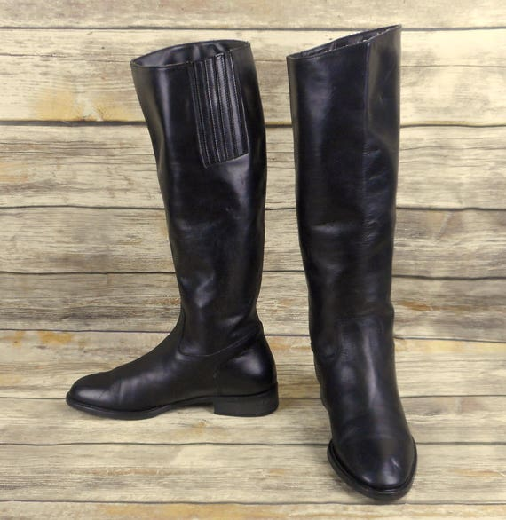 Sudini Knee High Boots Black Leather Womens Size 6.5 B Riding  98333bec2e