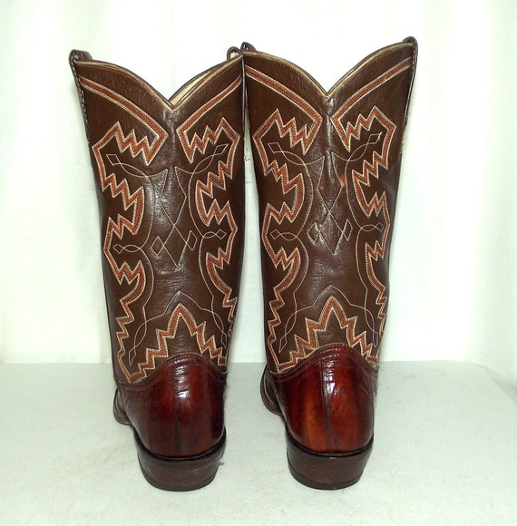 Brown D womens Adams mens 5 Leather Eel Cowboy 7 8 boots size Brand Exotic xZ4UFwx