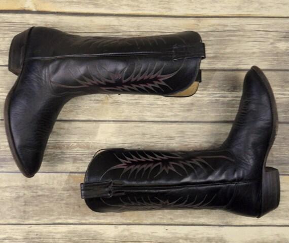 5 EE cuir Nocona Steampunk Extra taille homme Santiags large noir Western pour en 9 pg8qa