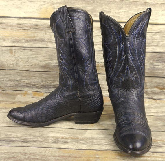 ec27ba200a6 Vintage Cowboy Boots Blue Black Leather Mens Size 11.5 B Narrow Western  Country