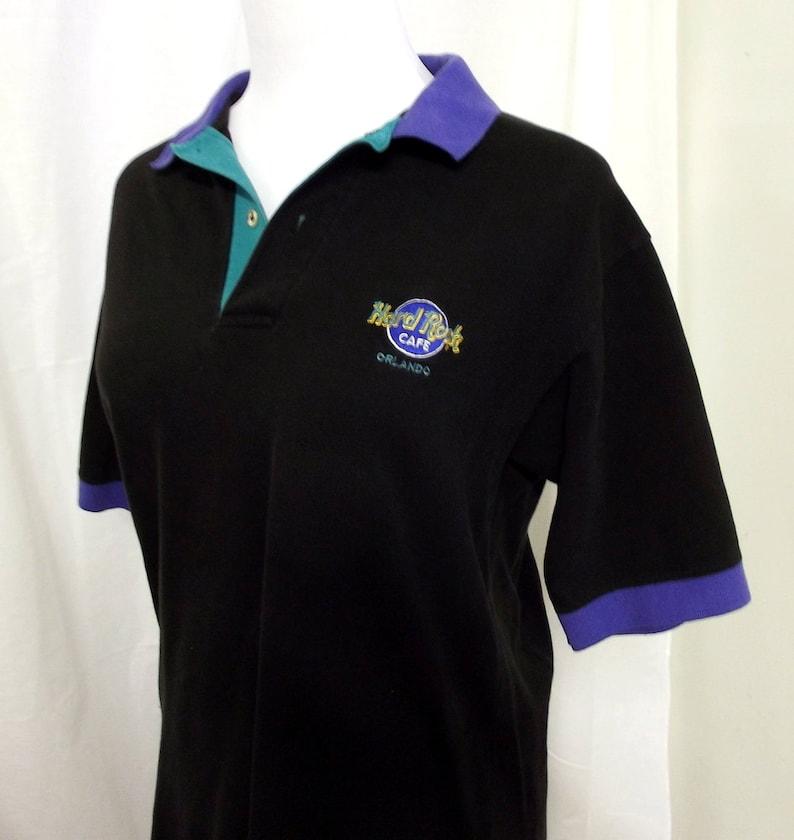 de9e3054 Vintage Hard Rock Cafe Orlando Polo Shirt - Black - purple - green - Preppy  1980's fashion