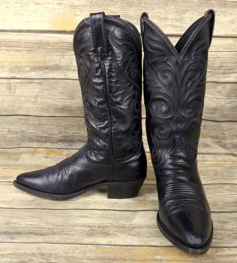 ff301b8eb79 Dan Post Cowboy Boots Black Leather Mens Size 7.5 D Country Western Biker  Shoes