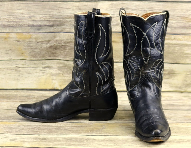 e7337221d412b Rodeo Cowboy Boots Black Leather Mens Size 10 D Western Rockabilly White  Vintage