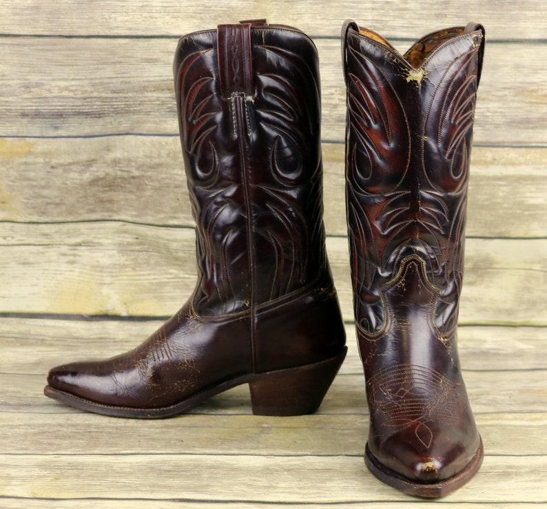 0ac39e71c97 Tony Mora Cowboy Boots Vintage Mens 8.5 D Brown Country Western Rockabilly