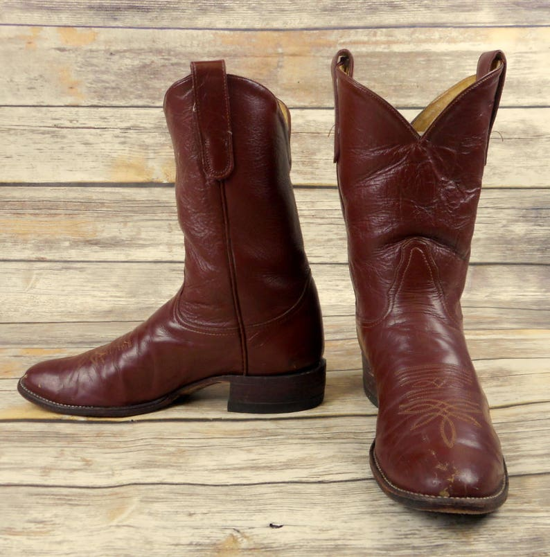 18d896cb364b0 Mens 10 B Tony Lama Cowboy Boots Narrow Width Brown Ropers Country Western  Shoes