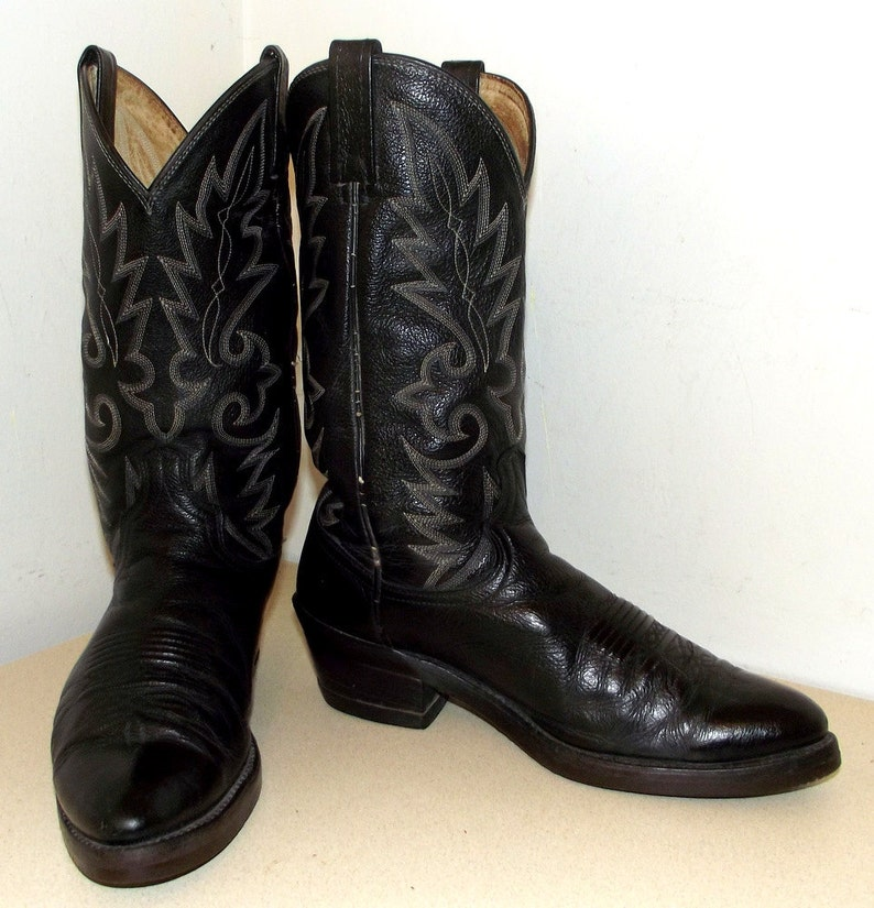 8d93036c7ac Vintage Black Leather Dan Post Cowboy Boots with white and grey stitching