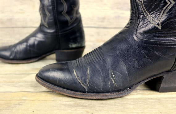 Country Western Mens Black 10 Tony Leather Lama Boots Distressed Size D Cowboy XxnPqv
