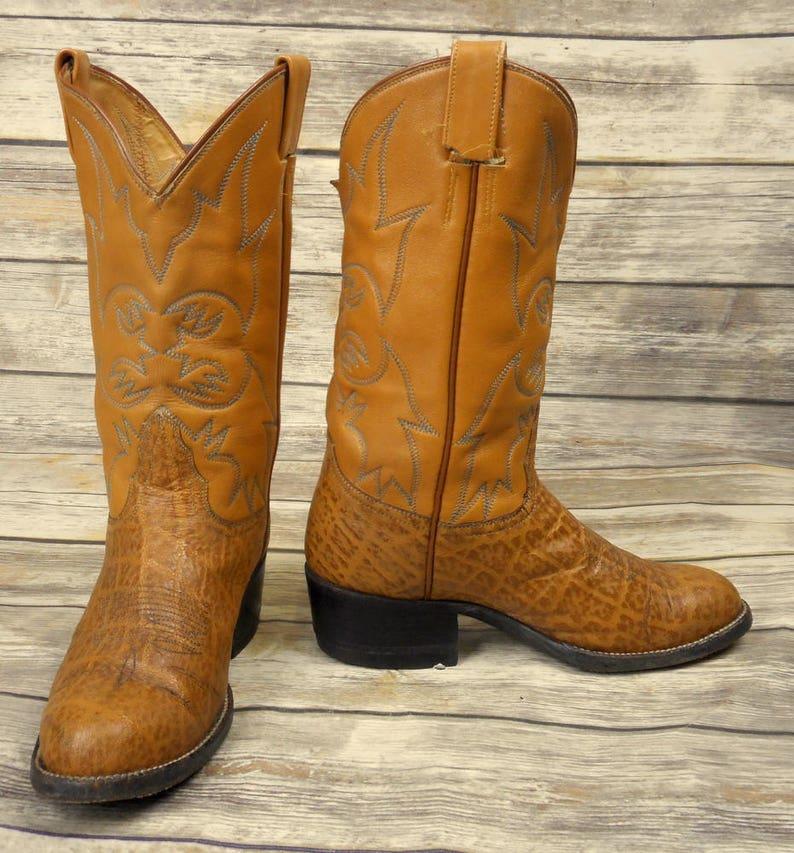 d1801cd87d2 Vintage Cowboy Boots Caramel Tan Mens Size 6 D Country Western Shoes Blue