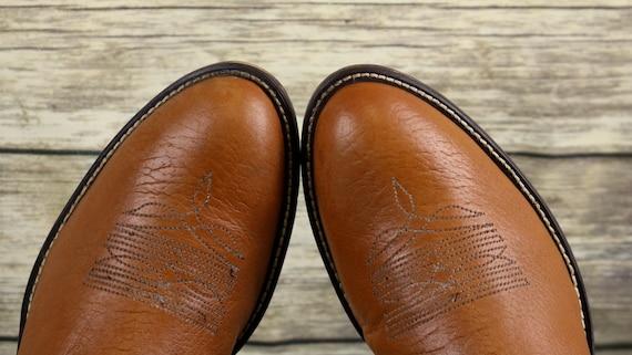 9 Brown Boots Tan Leather Cowboy Mens Narrow Vintage Size Western Acme Patchwork C 5pnRw8Iqwx
