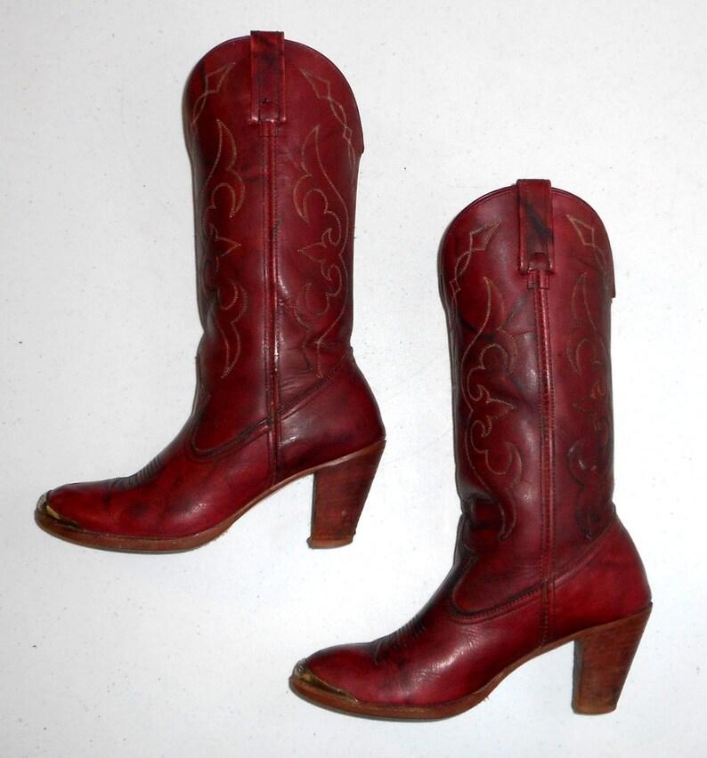 Womens Red Cowboy Boots Western Fashion Acme High Heels Size  7450eebffb64