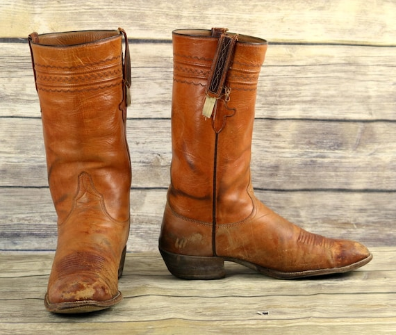 Western Cowboy Distressed 9 Lucchese Leather Tan Boots Brown Rockabilly Mens D ATvHwq