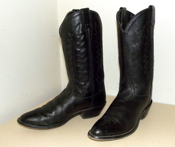 size black 10 on or cowgirl 8 Black Vintage boots cowboy 5 leather size g7P5wx