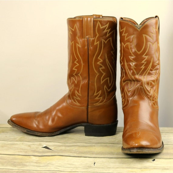 Justin Cowboy Boots Vintage Caramel Tan Leather St