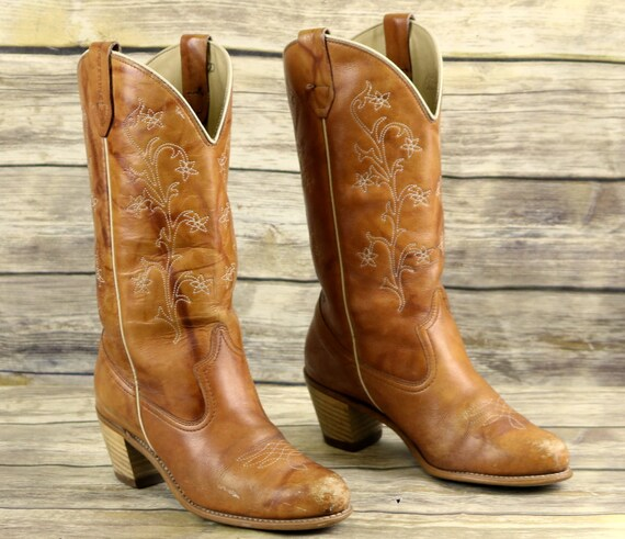 Boots 9 Size Cowgirl Brown Country M Wolverine Womens Western Tan Cowboy Vintage 5XSqnY7