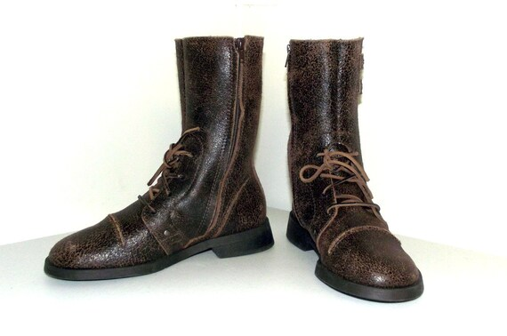 brown M style Bini distressed 9 combat Vintage boots look size Gianni vfUpwx1q