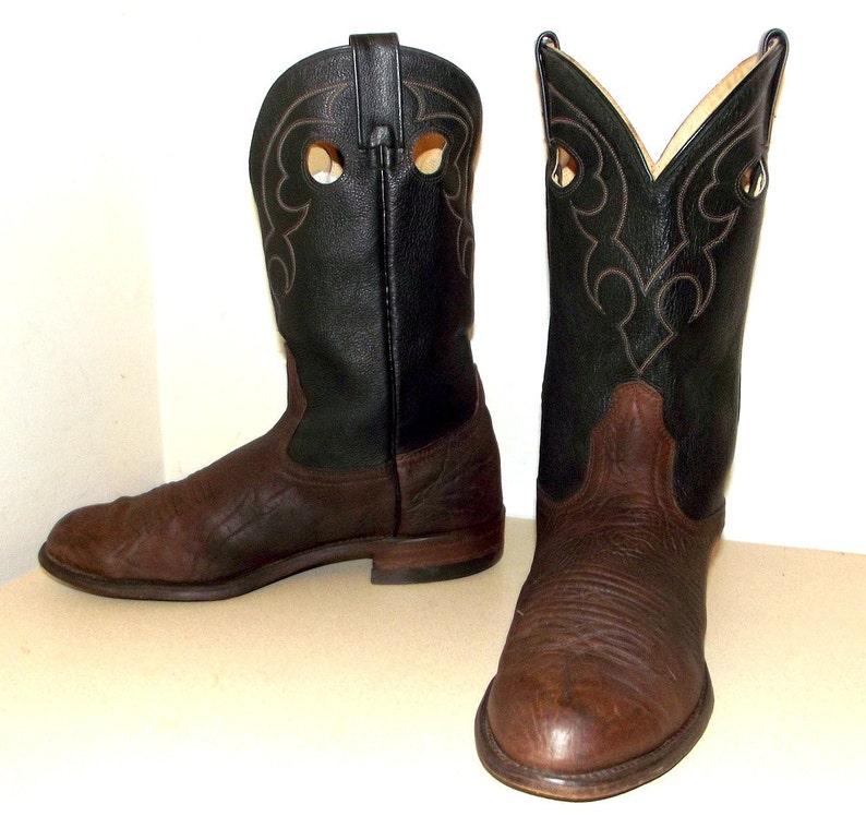 4ce3bd1807 Dos tonos negro y marrón Roper estilo cowboy botas 9 3E o
