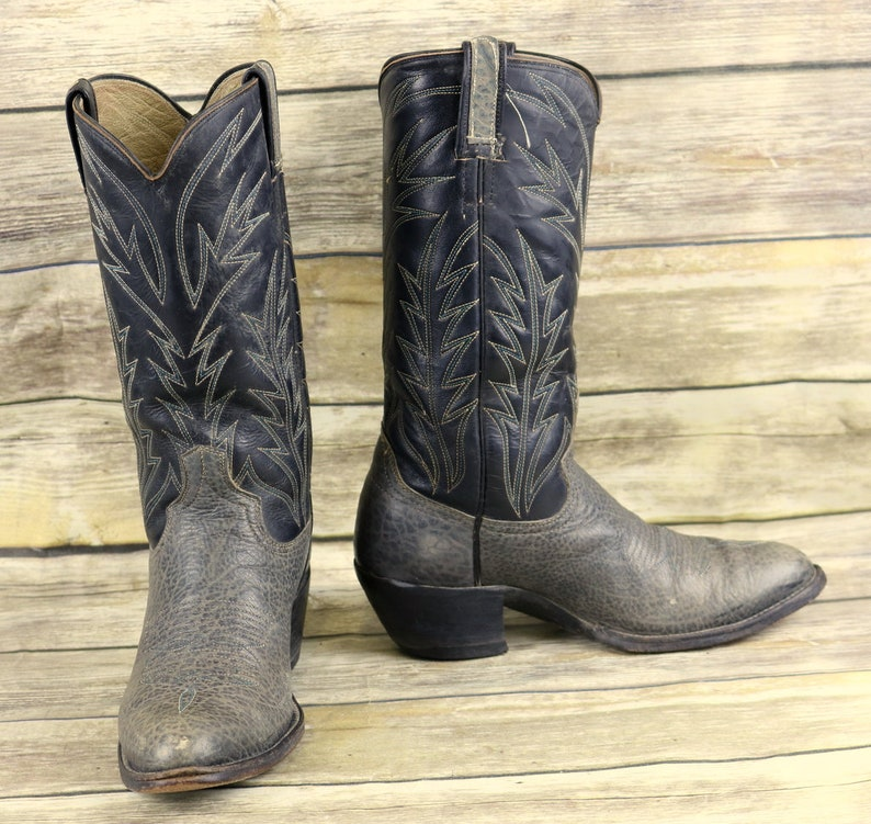 Vintage Cowboy Boots Blue Gray Leather Mens Size 7 7.5 E EE Extra Wide Distressed
