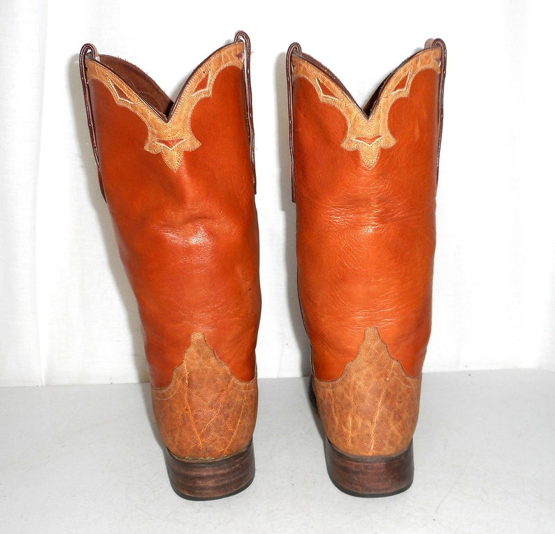 Exotic Loveless Tan Cowboy Boots Mens size 8.5  Womens 10 Indie Cowgirl Western Boho Hippie