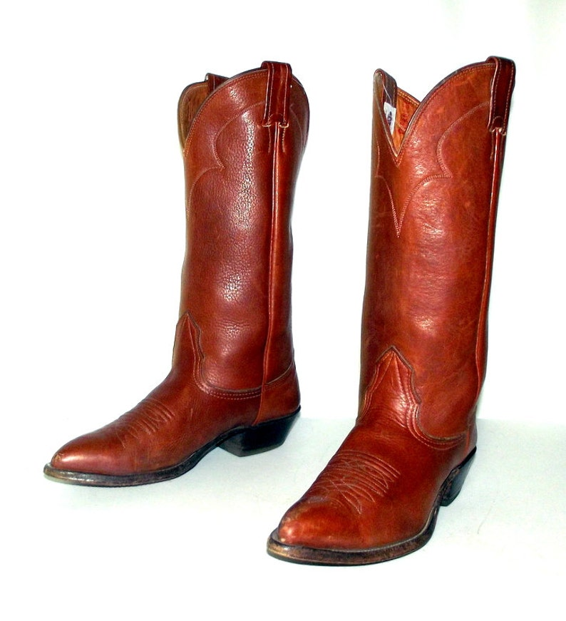 clear-cut texture new style great fit Brown Leather Nocona Cowboy boots womens size 5.5 C wide width western  cowgirl