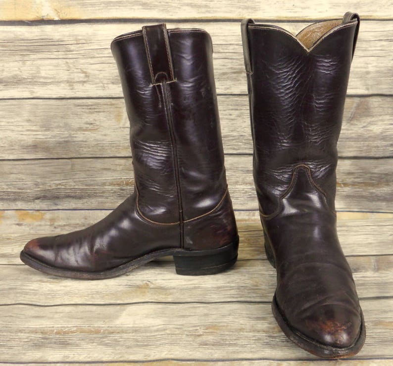 115a688aa7819 Justin Cowboy Boots Brown Leather Mens Size 9.5 B Narrow Western Rockabilly  Vintage