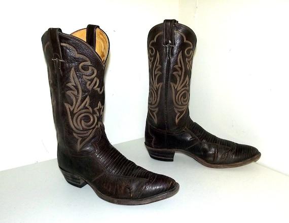 311b918359 Lagarto de marrón castaño oscuro y botas de cowboy de cuero