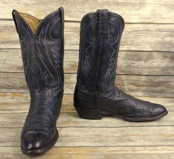 ... Leather Country B Mens Size Western 5 Cowboy Blue Narrow Black Vintage  Boots 11 nz7OIx ... ff8e6b4e42c7