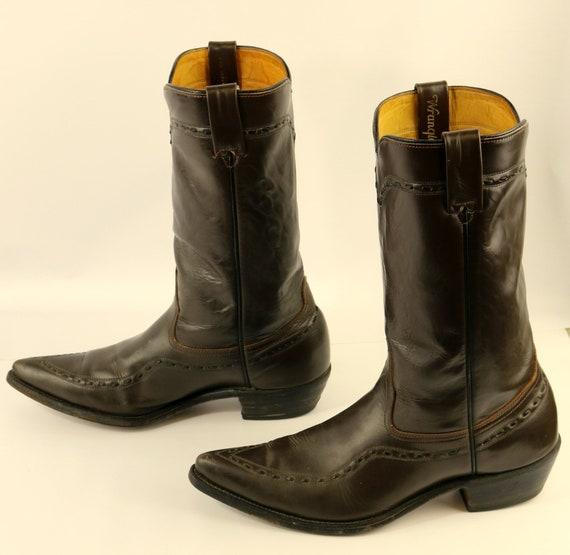 Wrangler Cowboy Boots Brown Leather Mens Size 9.5 D Vintage Western Rockabilly
