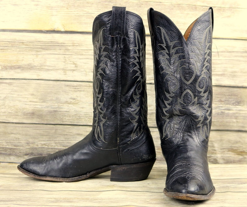 8acec134ed6b Nocona Cowboy Boots Black Leather Mens Size 9.5 D Country
