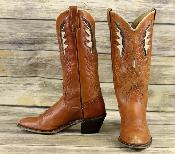 Acme Cowboy Stiefel Braun Leder Damenschuhe Größe 7 M Western   Etsy