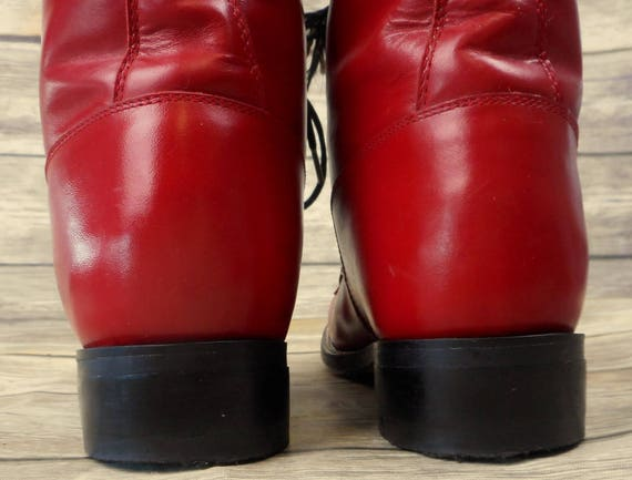 Justin Size Ropers Up D Red Kids 5 Leather Lace Boots Youth Junior Vintage Cowboy gwqP0rWAg