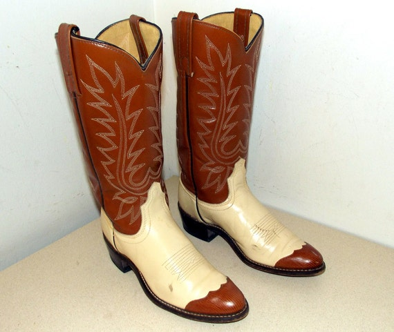 Acme Cowboy with brown wingtips size tan 6 color A and Boots Vintage cream 4dwq5Od