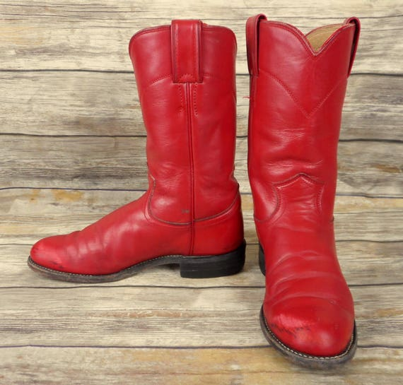 5 cuir B Justin rouge Santiags Western femmes Roper girl Country taille 5 cow nOqT0wq54