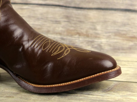 Western Boots 7 Cowboy Country Size Brown Leather Vintage Width Wide Justin Mens E BPTqgwqO
