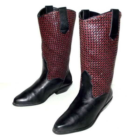 M Bottes 8 taille Cowboy marque mode de Dingo noir Womens Bordeaux Western qWnFwAqTzr