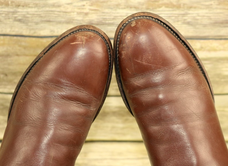 Justin Cowboy Boots Brown Leather Mens Size 10 B Narrow Ropers Western Vintage