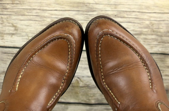 D Leather Brown 9 Boots Size Rockabilly Country Vintage Cowboy Mens Western CRxqq4O