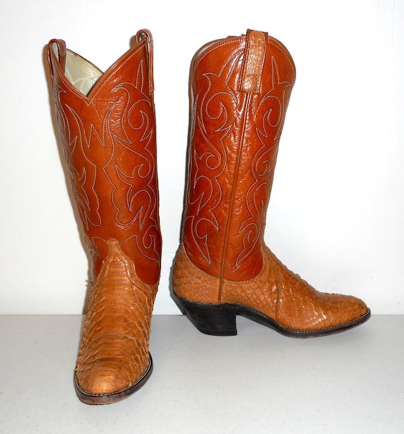 Boots Urban C Vintage Size Cowgirl Shoes Snake Cowboy Tan 5 Leather Snakeskin qxzAw5H8