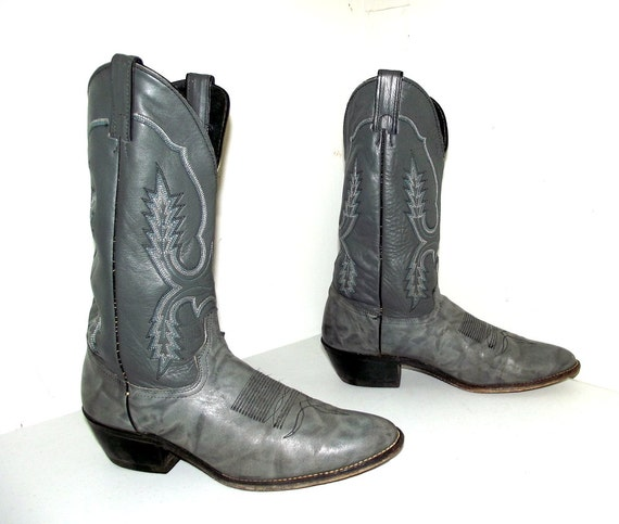 design black Cowboy size 10 blue Boots white 5 Grey with B Vintage and 4qx7wT4