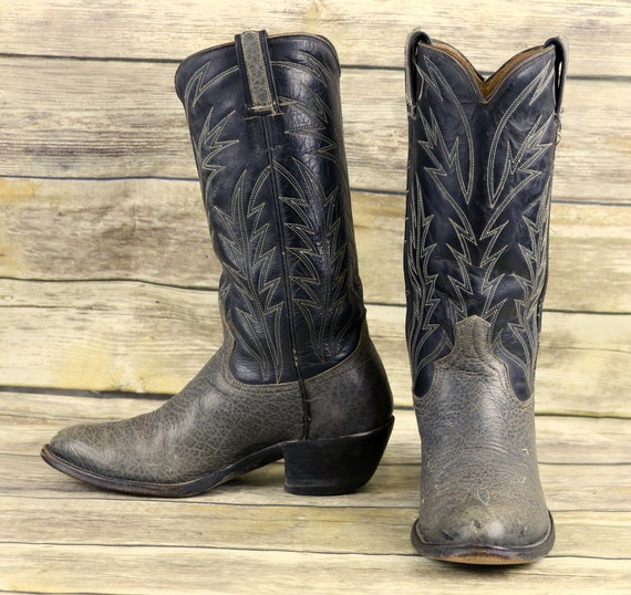 a0fdf8ef7d4 Vintage Cowboy Boots Blue Gray Leather Mens Size 7 7.5 E EE Extra Wide  Distressed