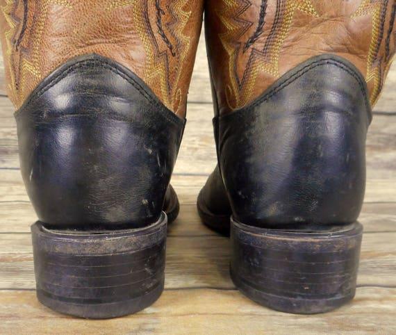 D cuir occidental pour Santiags en noir 8 d marron pays taille Justin homme en wfq8aaT