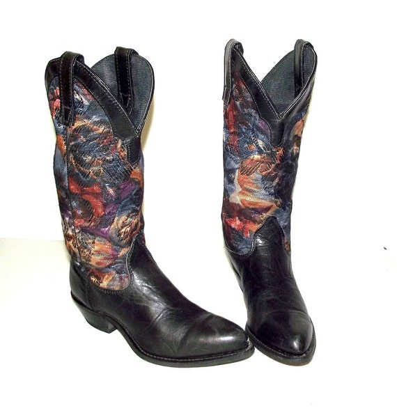 Blue Tapestry western fashion cowgirl boots -  Cap